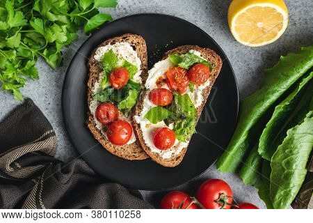 Ricotta Toast With Grilled Tomatoes. Italian Cuisine Food. Top View