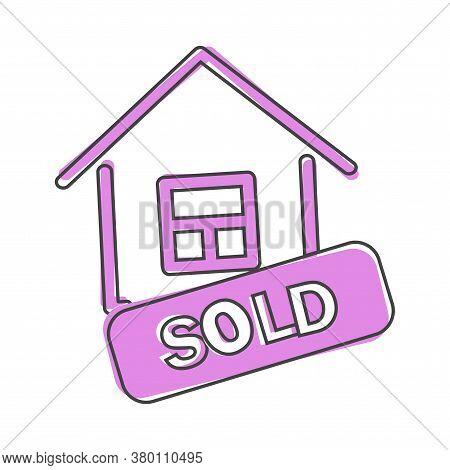Sold House Vector Icon Cartoon Style On White Isolated Background.