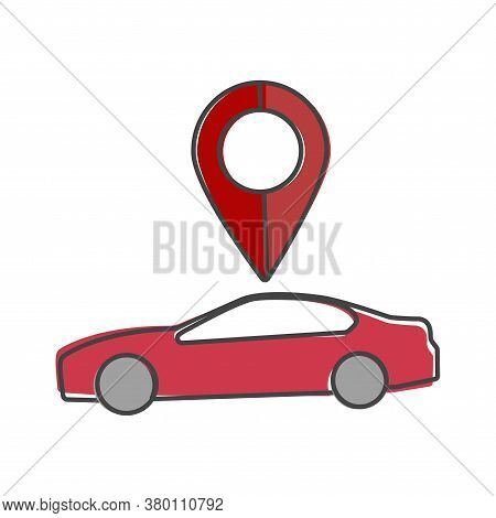 Car Pointer Icon. Positioning Car Cartoon Style On White Isolated Background.
