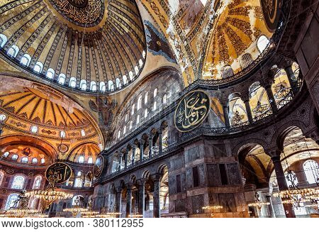 Istanbul - May 25, 2013: Vintage Interior Of Hagia Sophia, Turkey. Ancient Hagia Sophia Or Aya Sofya