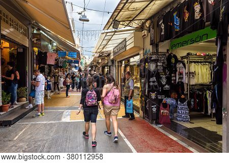 Athens - May 7, 2018: Old Market Near Monastiraki Square In Athens, Greece. People Visit Stores And