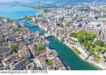 View of the Zurich donwtown (Switzerland, 2020)