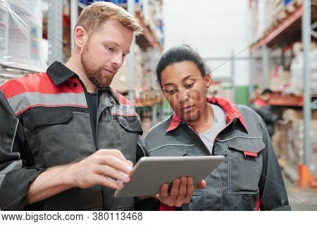 Young bearded engineer or worker of warehouse using tablet while showing his mixed-race female colleague list of new goods