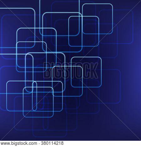 Vector 3d Design Warped Square On Blue Background