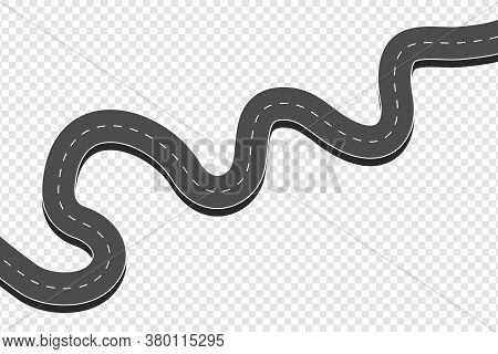 Winding Curved Asphalt Road. Highway With Markings In Top View At Transparent Background. Road Direc