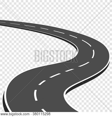 Winding Curved Road With Markings. Highway Going Into The Distance. Asphalt Pathway On Transparent B