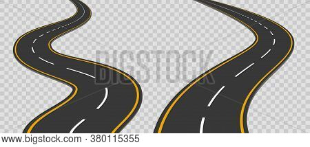 Winding Curved Road With Markings Set. Highway Going Into The Distance. Asphalt Pathway On Transpare