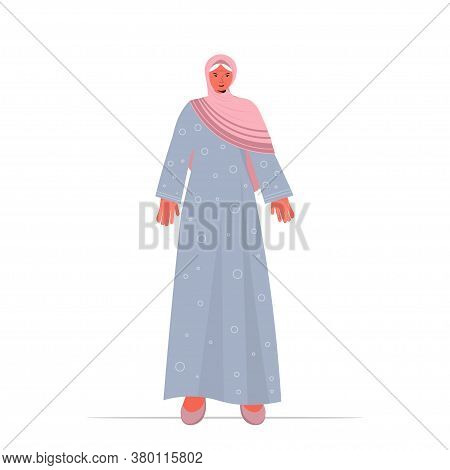 Old Arab Woman In Traditional Clothes Senior Female Cartoon Character Standing Pose Gray Haired Arab