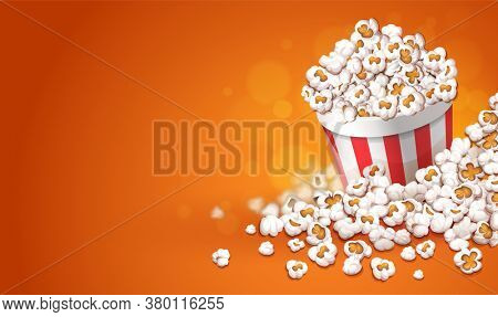 Popcorn in paper cup bucket. Online movies banner template, poster concept with copyspace, place for text. Container full of pop corn snacks in movie theater. Fast food for cinema. 3D illustration.