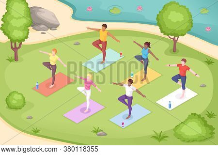 Yoga Outdoor In Park, Group Class Meditation, Isometric Illustration Of Women In Pose On Yoga Mats.