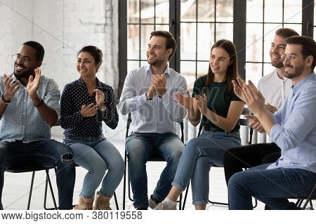 Smiling Diverse Employees Applauding, Clapping Hands, Cheering Mentor Coach