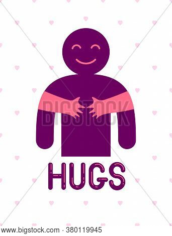 Hugs With Loving Hands Of Loved Person, Lover Woman Hugging His Man And Shares Love, Vector Icon Log