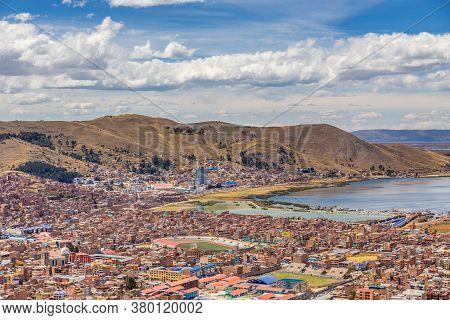 Panorama Of Peruvian City Puno And Lake Titicaca, Peru