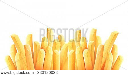 French fries. Roasted potato chips in deep fat fry oil potatoes. Yellow sticks. Fastfood. Unhealthy tasty food. Horizontal banner, isolated on white background. 3D illustration.