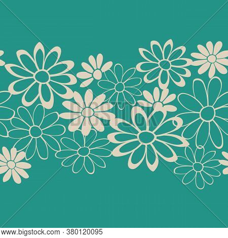 Green Floral Lace Vector Seamless Illustration, Repeat Pattern