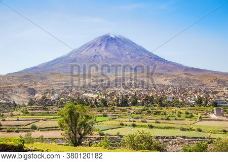 Dormant Misti Volcano Over The Streets And Houses Of Peruvian City Of Arequipa, Peru