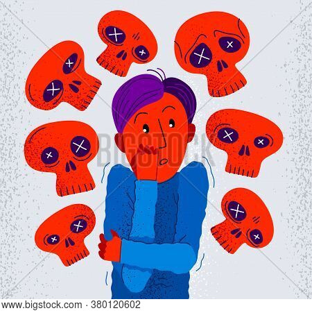 Thanatophobia Fear Of Death Vector Illustration, Young Man Surrounded With Imaginary Dead Skulls In