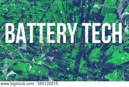 Battery Tech Theme With Abstract Network Patterns And Manhattan Ny Skyscrapers