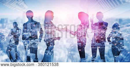 Creative Image Of Many Business People Conference Group Meeting On City Office Building Background S