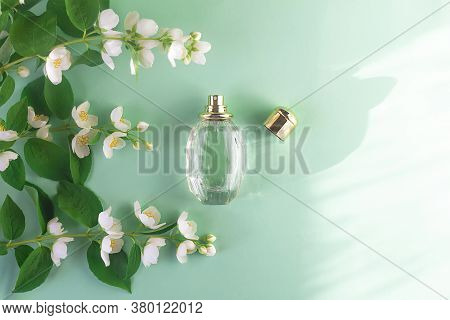 Floral Perfume With Jasmine Flower Scent. Glass Bottle, Scent Spray Bottle With Fragrance