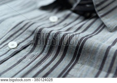 Close Up Of Men's Striped Shirt. Fashion Background.