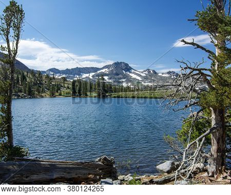 Sierra Nevada's Winnemucca Lake At Mid-day In The Summer, With Rocks,  The Mountains And A Few Pine