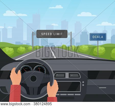 Driving Car Safety Concept Vector Illustration. Cartoon Flat Human Driver Hands Drive Automobile On