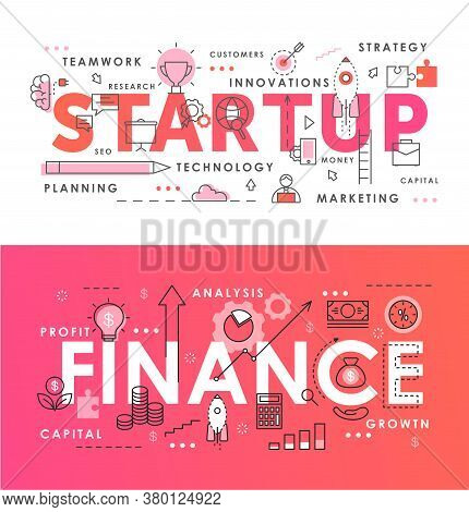 Financial Startup Word Abstract Thin Line Vector Illustration Set. Flat Lineart Web Banners With Sta