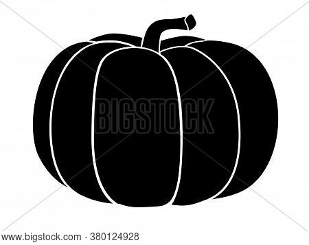 Pumpkin - Black Vector Silhouette For Pictogram Or Logo. Pumpkin - Sign Or Icon. Gardening.