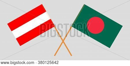 Crossed Flags Of Bangladesh And Austria. Official Colors. Correct Proportion. Vector Illustration