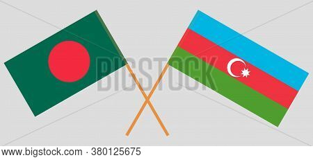 Crossed Flags Of Bangladesh And Azerbaijan. Official Colors. Correct Proportion. Vector Illustration