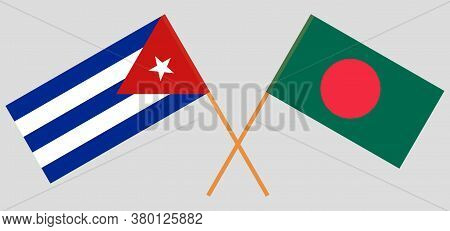 Crossed Flags Of Bangladesh And Cuba. Official Colors. Correct Proportion. Vector Illustration