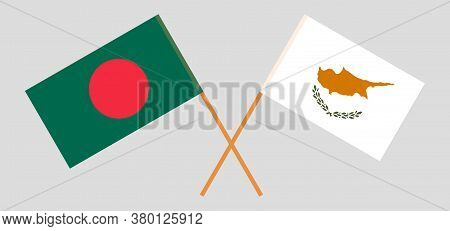 Crossed Flags Of Bangladesh And Cyprus. Official Colors. Correct Proportion. Vector Illustration