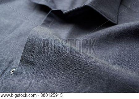 Close Up Of Dark Men's Shirt. Fashion.