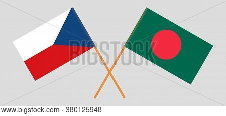 Crossed Flags Of Bangladesh And Czech Republic. Official Colors. Correct Proportion. Vector Illustra