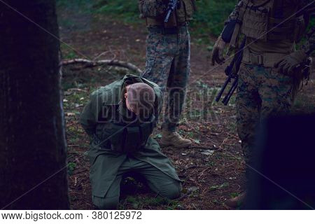 soldiers squad was capture alive terrorist and interrogation them on them on special tactics violent way