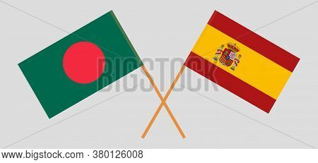 Crossed Flags Of Bangladesh And Spain. Official Colors. Correct Proportion. Vector Illustration