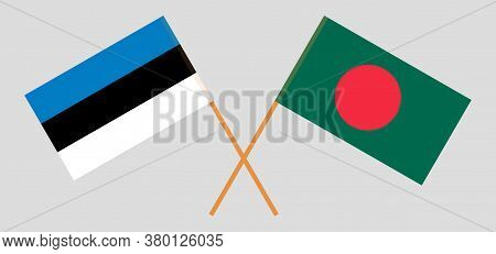 Crossed Flags Of Bangladesh And Estonia. Official Colors. Correct Proportion. Vector Illustration