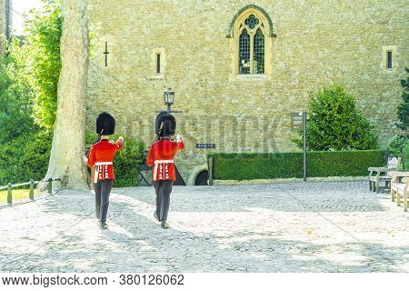 June 2020. London. Queens Guards At The Tower Of London A Unesco World Heritage Site, London, Englan