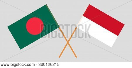Crossed Flags Of Bangladesh And Indonesia. Official Colors. Correct Proportion. Vector Illustration