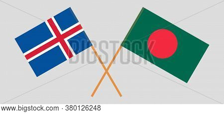 Crossed Flags Of Bangladesh And Iceland. Official Colors. Correct Proportion. Vector Illustration
