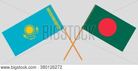 Crossed Flags Of Bangladesh And Kazakhstan. Official Colors. Correct Proportion. Vector Illustration