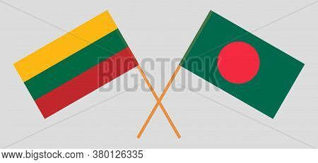 Crossed Flags Of Bangladesh And Lithuania. Official Colors. Correct Proportion. Vector Illustration