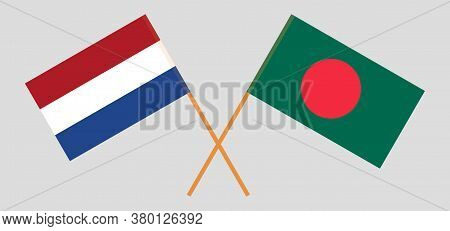 Crossed Flags Of Bangladesh And Netherlands. Official Colors. Correct Proportion. Vector Illustratio