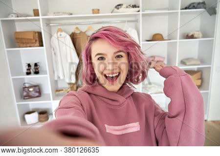 Excited Hipster Gen Z Teen Girl Fashion Social Media Channel Blogger Stylist With Pink Hair Piercing