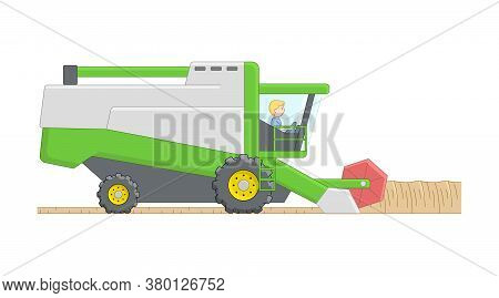 Man In Green Combine Harvester On White Background Isolated. Cartoon Outline Composition With Agricu