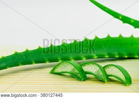 Slice Aloe Vera Leaves On White Background