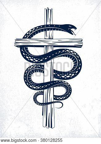 Snake Wraps Around Christian Cross, The Struggle Between Good And Evil, Saint And Sinner, Love And H