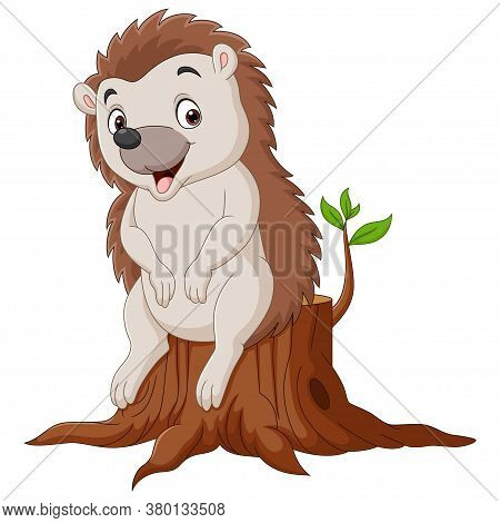 Vector Illustration Of Cartoon Little Hedgehog Sitting On Tree Stump