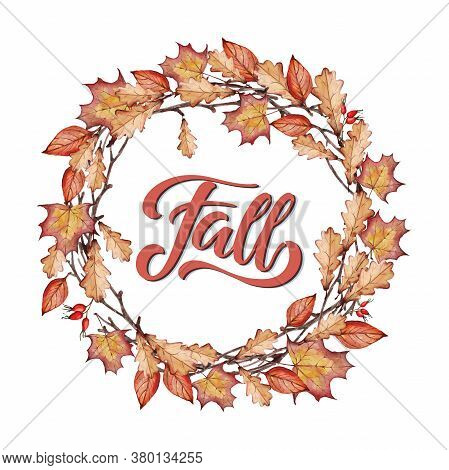 Word Fall Hand Written Lettering In Falling Leaves Wreath On White Background. Calligraphy Illustrat